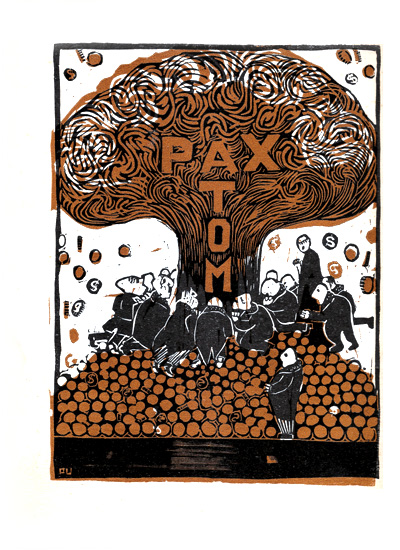 Pax Atom. woodcut by Per Ulrich. Dialog 1952:7, backcover.